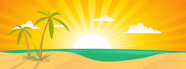 Summer Exotic Beach Landscape Banner