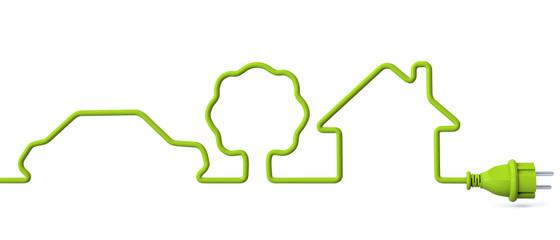 Green power plug - car-tree-house