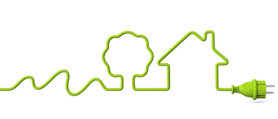 Green power plug - water energy-tree-house