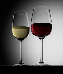 1 Glas Rotwein und Weisswein