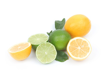 lemon and lime isolated on white background