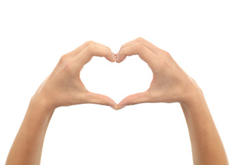 Woman hands making a heart shape
