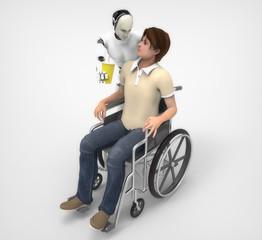 Hombre en silla de rueda y Humanoide