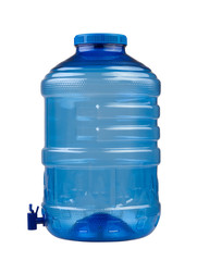 Empty blue drinking water container