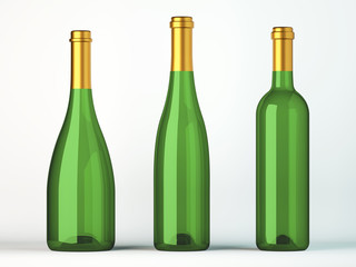 Three green bottles for wine with golden labels