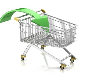 3D Shopping cart with arrow