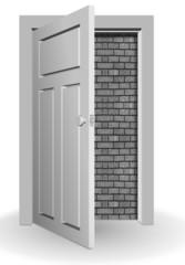 Wall behind door