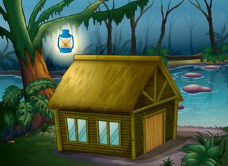 In de dag Fantasie Landschap A bamboo house in the jungle