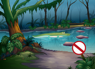 Poster de jardin Fantastique Paysage A crocodile in the jungle