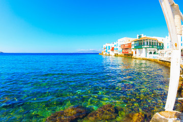 Little Venice green waters closeup view Mykonos island Greece Cy
