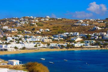 Wide View of Agios Ioannis in Mykonos Island cylades greece