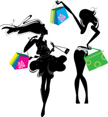 silhouette of a girl  with bags