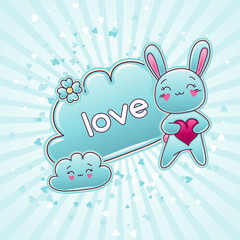 Wall Mural - Cute child background with kawaii doodles.
