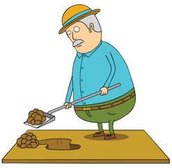 digging old fat man