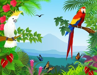 Naklejka premium Ptak w pięknym lesie