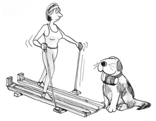 Woman on track needs help from dog
