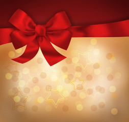 Holiday background with red bow and light stars. Illustration
