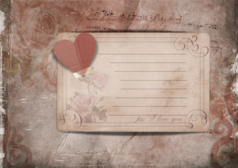 Vintage background with roses and old card
