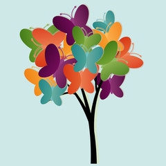 Fotorolgordijn Vlinders Abstract tree illustration with butterflies