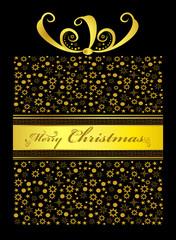 Golden Christmas gift on black