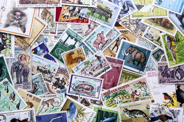 background -  collection of stamps