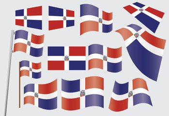 set of flags of Dominican Republic vector illustration