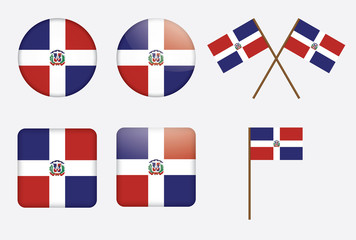 set of badges with flag of Dominican Republic