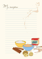 Template for recipes with picture of baking soda, flour, sugar,