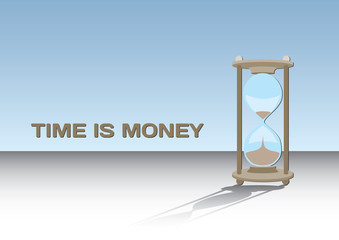 Time is money - concept with hourglass, vector