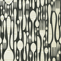 Seamless silverware wooden pattern