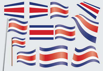 set of flags of Costa Rica vector illustration