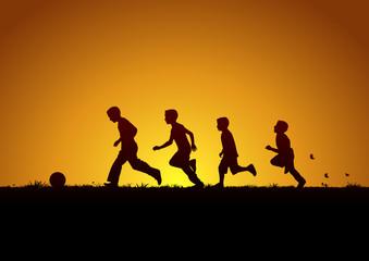 Topun peşinde koşan çocuklar