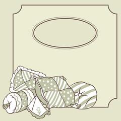 Vector pillows frame. Card for pajama party.