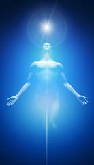 Licht Transformation Blau Weiß