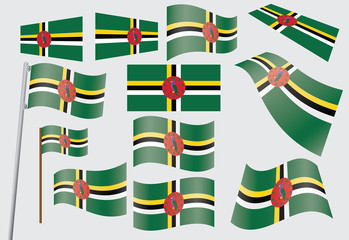set of flags of Dominica vector illustration