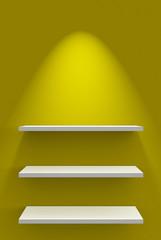 Drei Regale an Wand mit Beleuchtung - Gelb Weiß