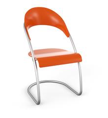 3D Stuhl vor weissem Hintergrund - Orange