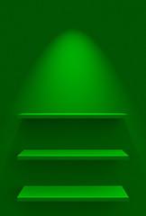 Drei Regale an Wand mit Beleuchtung - Grün