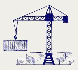 Crane working. Doodle style