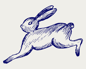 Running hare. Doodle style