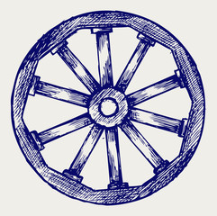 Wooden wheel. Doodle style