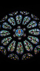 In de dag Stained colorful rose window
