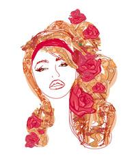 Creative fashion portrait, vector