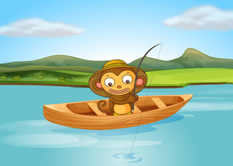 A fishing monkey