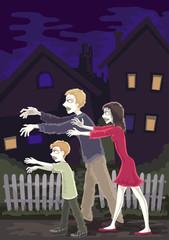 halloween zombies walking on the street
