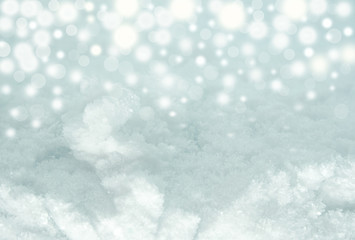 Lights on blue snow background