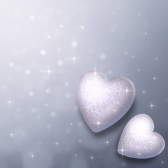 Grey abstract background with hearts