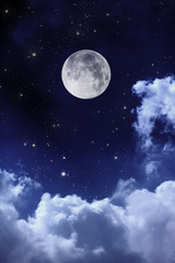 Fotobehang Volle maan cloudy night sky with moon and star