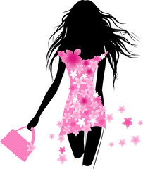 Poster Floral woman Fashion girl with bag