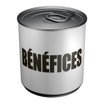 Bénéfices - Boite de conserve